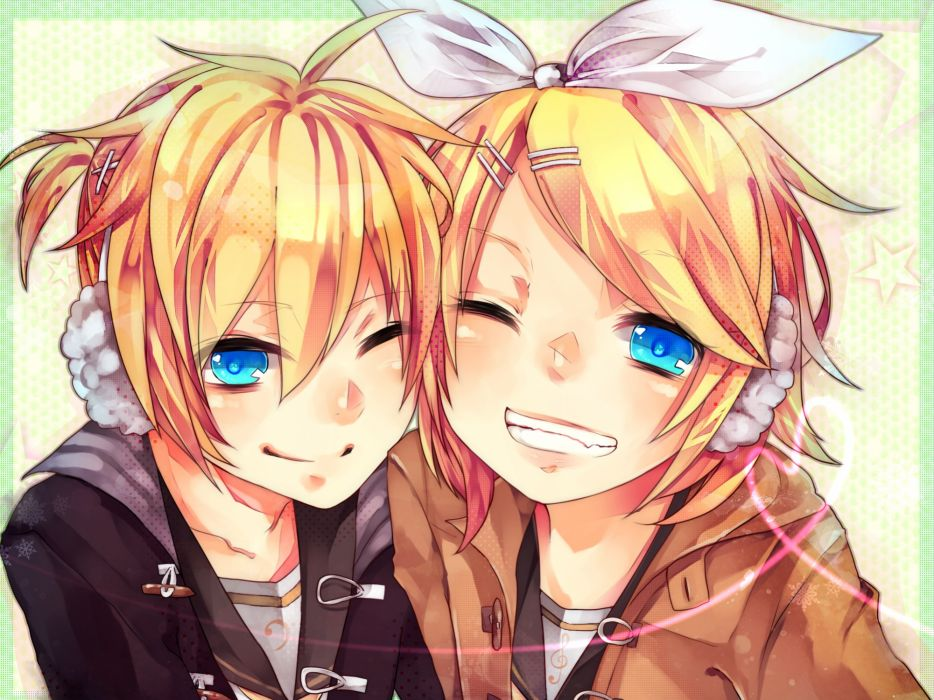 blonde hair blue eyes headphones kagamine len kagamine rin twins vocaloid wakatsuki you wink wallpaper