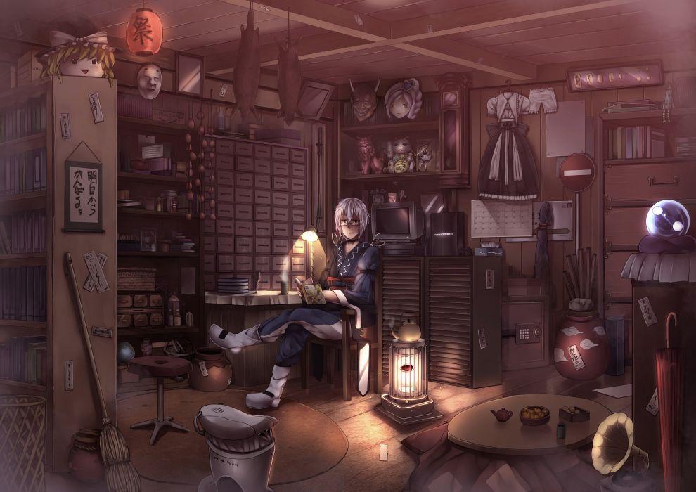 blonde hair book drink glasses hat kirisame marisa mask morichika rinnosuke ryouma (galley) short hair touhou umbrella white hair witch wallpaper