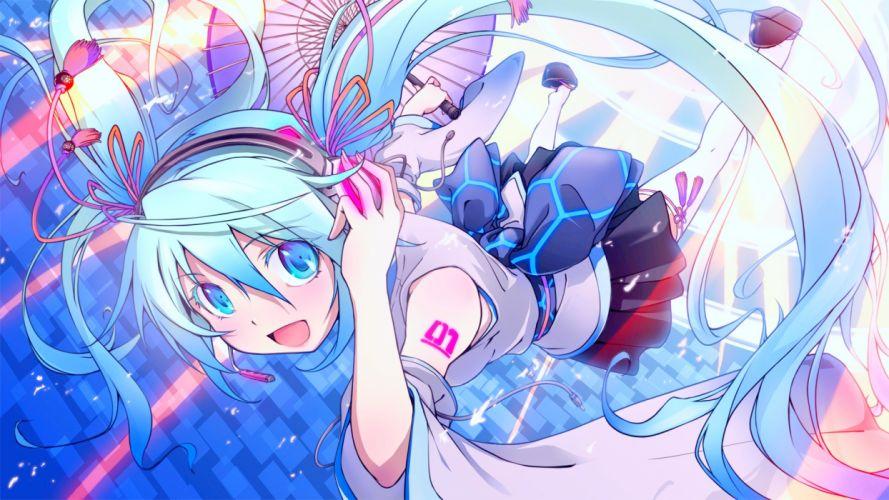 blue eyes blue hair bow duplicate hatsune miku headphones long hair microphone skirt thighhighs twintails umbrella vocaloid wallpaper