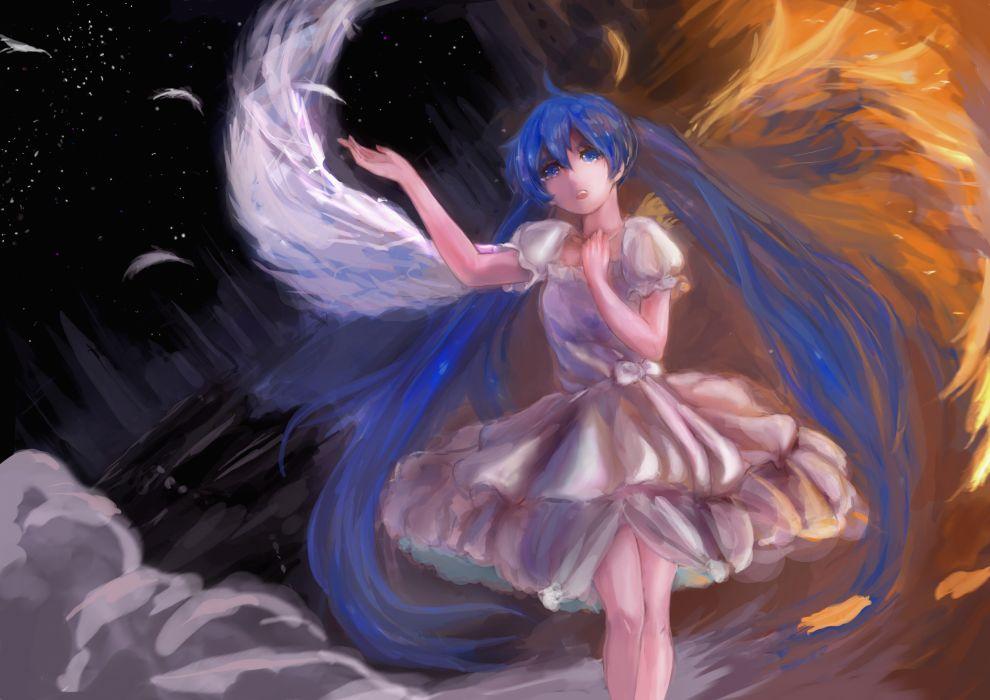 blue eyes blue hair darwinwu dress feathers hatsune miku tears twintails vocaloid wings wallpaper