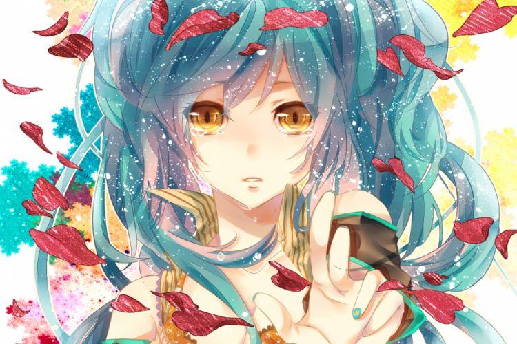 blue hair close hatsune miku isagot petals tears vocaloid yellow eyes wallpaper