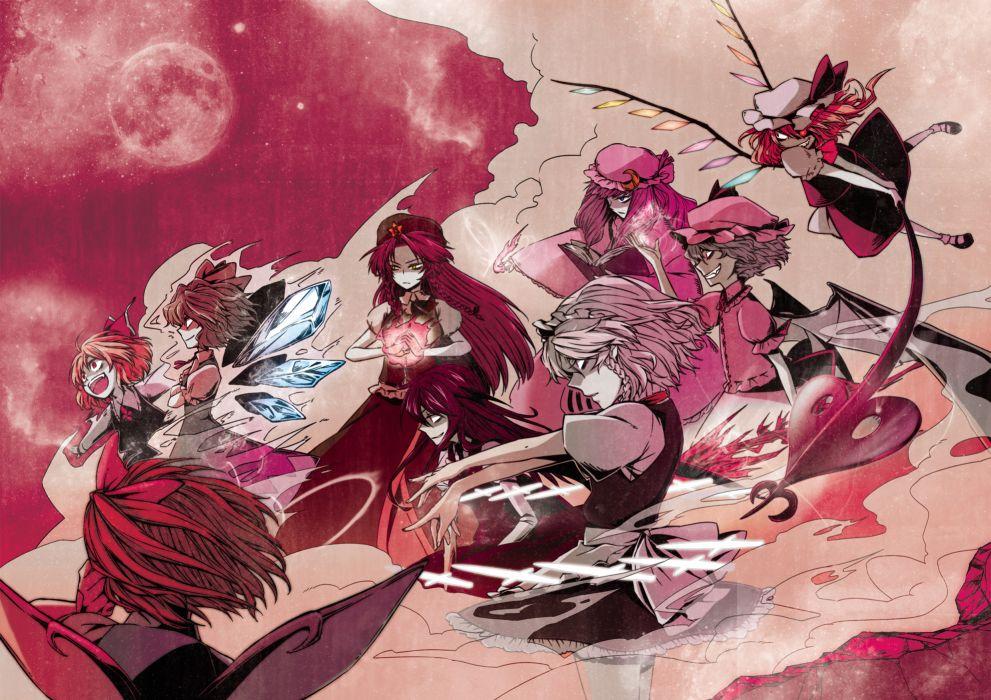 book cirno daiyousei flandre scarlet group hong meiling izayoi sakuya knife koakuma maid megumiya remilia scarlet rumia touhou vampire weapon wallpaper