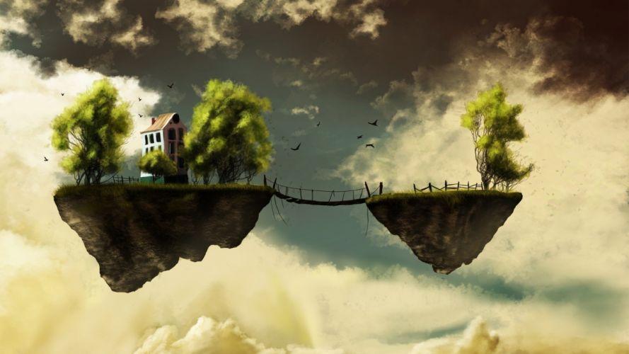 Bridge of Floating islands landscapes wallpaper