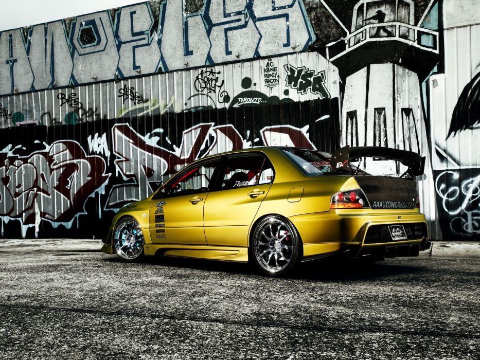 cars graffiti vehicles mitsubishi lancer evolution tuning wallpaper