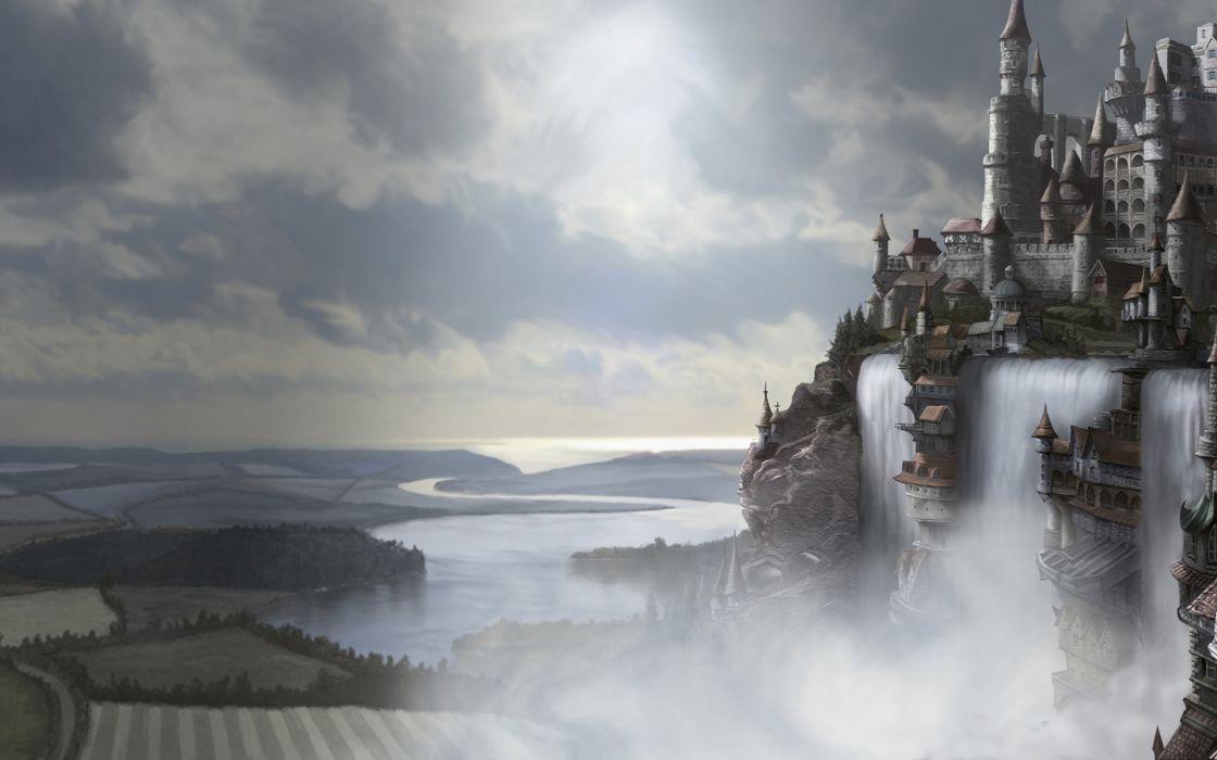 Castle Waterfall wallpaper