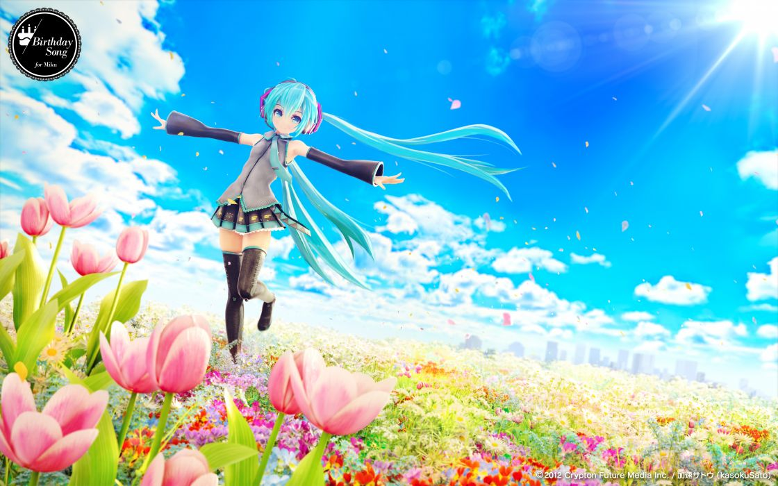 chuukarudoruhu city clouds flowers hatsune miku sky thighhighs twintails vocaloid zettai ryouiki wallpaper