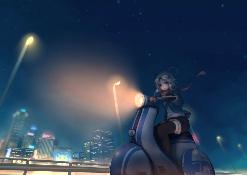 city luo tianyi motorcycle need6699955 night sky stars vocaloid wallpaper