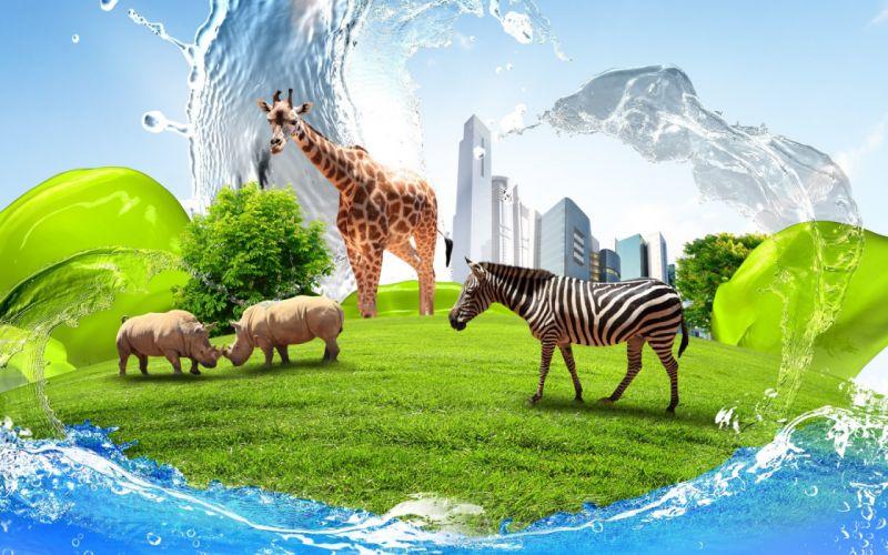 creative zebra giraffe rhino buildings water grass lawn wallpaper