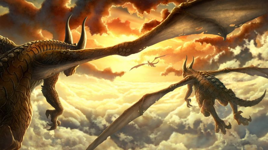 Dragons Clouds Drawing wallpaper