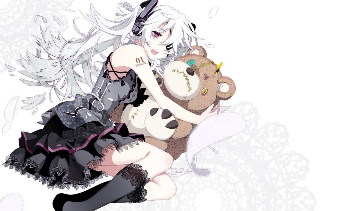 dress eyepatch goth-loli hatsune miku headphones long hair no more pink eyes teddy bear vocaloid white white hair wallpaper