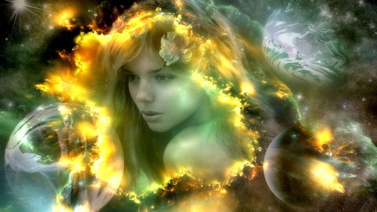 fantasy women planets space bubbles flowers nebula stars wallpaper