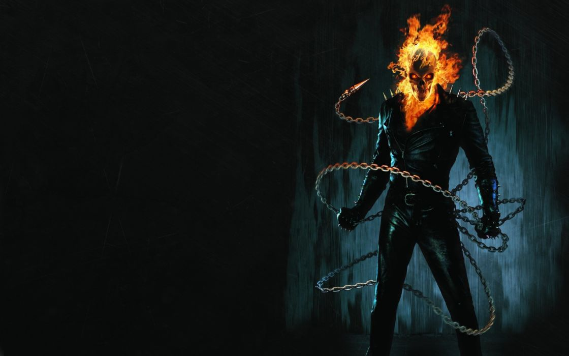 Ghost Rider comics movies dark skull skeleton fire wallpaper
