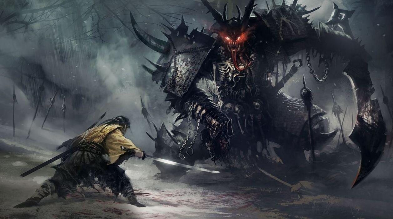 Giant Demon Samurai battle wallpaper