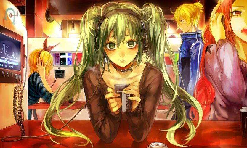 green eyes green hair hatsune miku headphones kagamine len kagamine rin long hair megurine luka tcb twintails vocaloid wallpaper