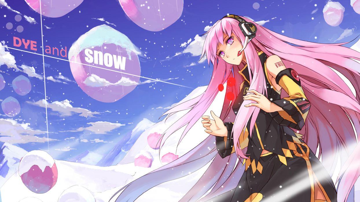 headphones long hair megurine luka pink eyes pink hair snow thighhighs vocaloid x-boy wallpaper