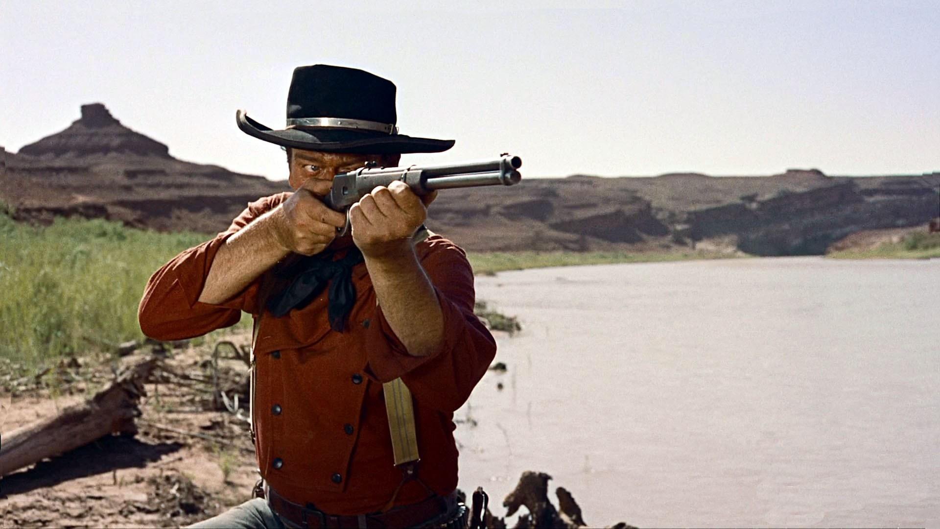 John Wayne weartern movies weapons guns rifle cowboy men ...
