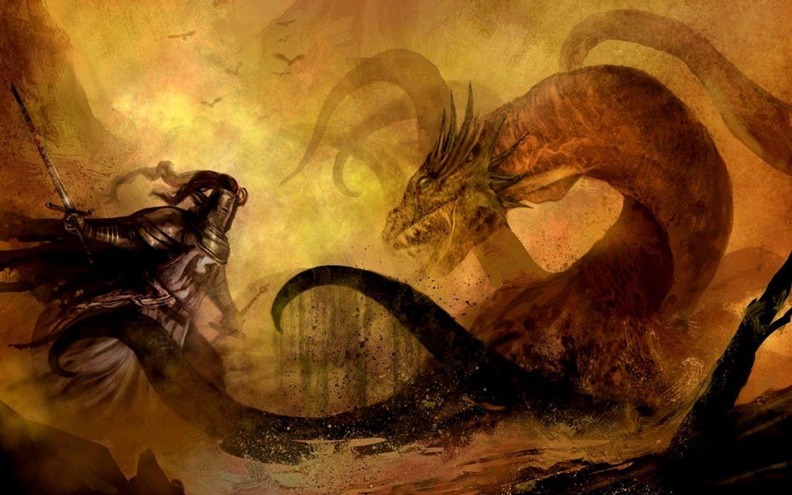 Knight and Hydra Battle warrior wallpaper
