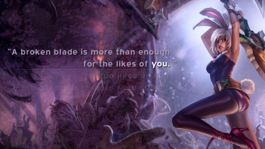 League of Legends Riven text wallpaper