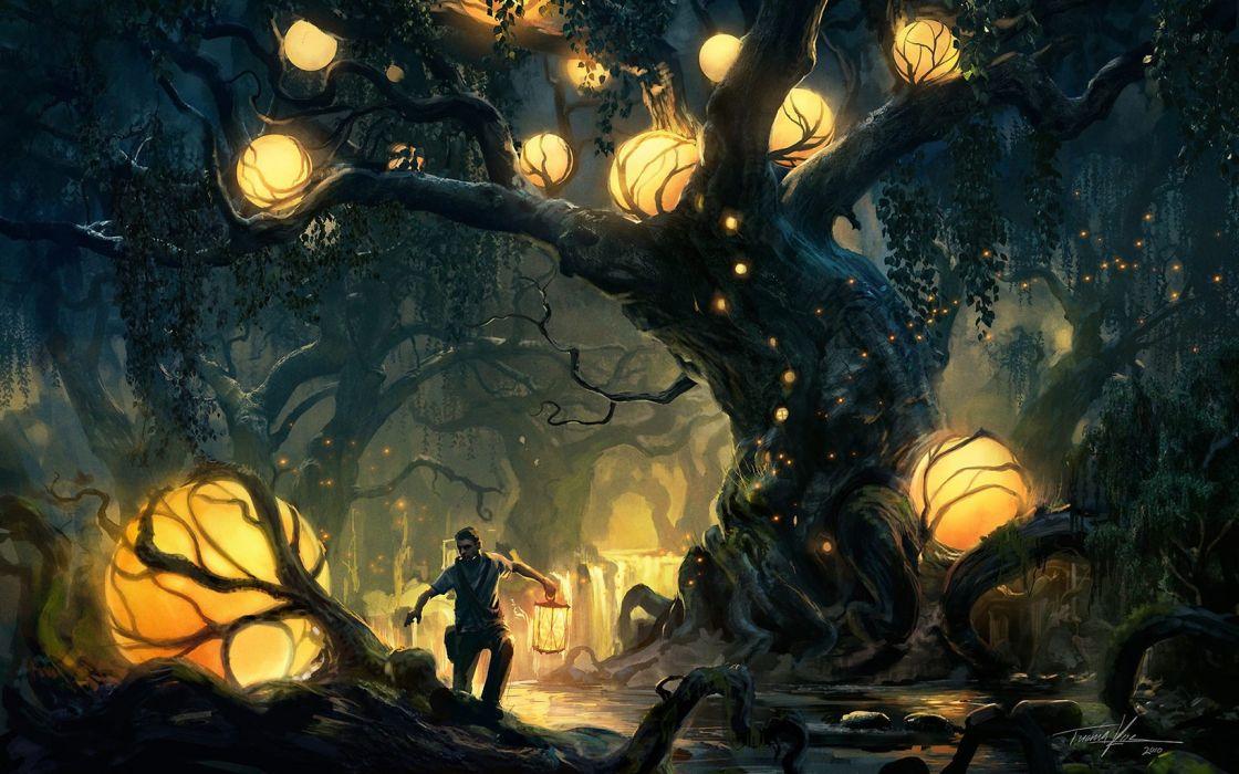 Light Globe Forest wallpaper
