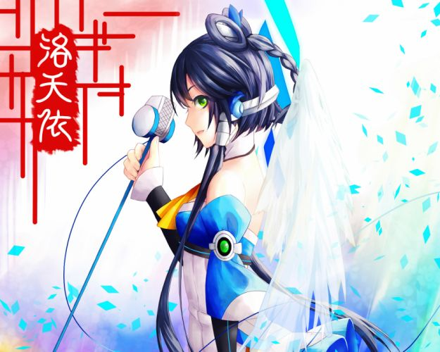 luo tianyi microphone sarie vocaloid wings wallpaper