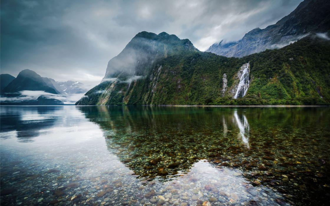 New Zealand lakes mountains reflection stones waterfall wallpaper