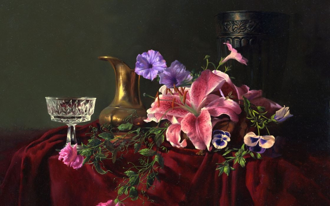 painting still life Alexei Antonov flowers jar glass crystal vase lilies wallpaper