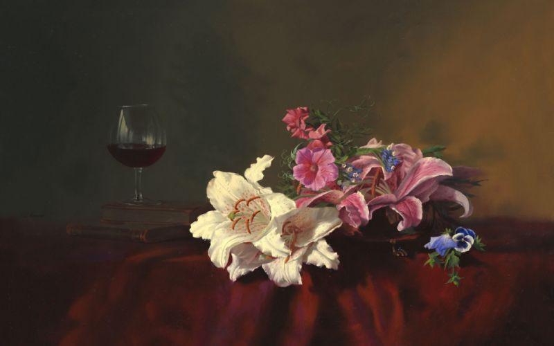 painting still life Alexei Antonov flowers lilies books glass wine table tablecloth wallpaper