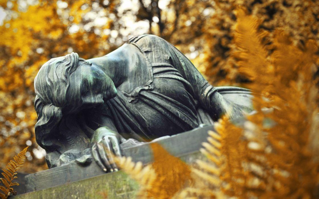 Poland  Krakow  Rakovitskoe cemetery statue gothic autumn wallpaper
