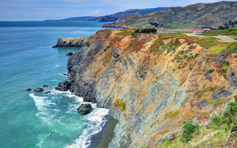 sea mountains rocks landscape beaches ocean wallpaper