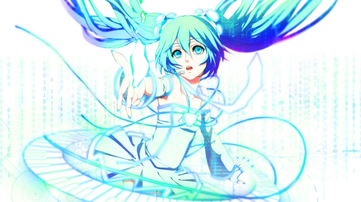 aqua eyes aqua hair blue eyes blue hair dress hatsune miku long hair rinko (jaunebrillant) twintails vocaloid wallpaper