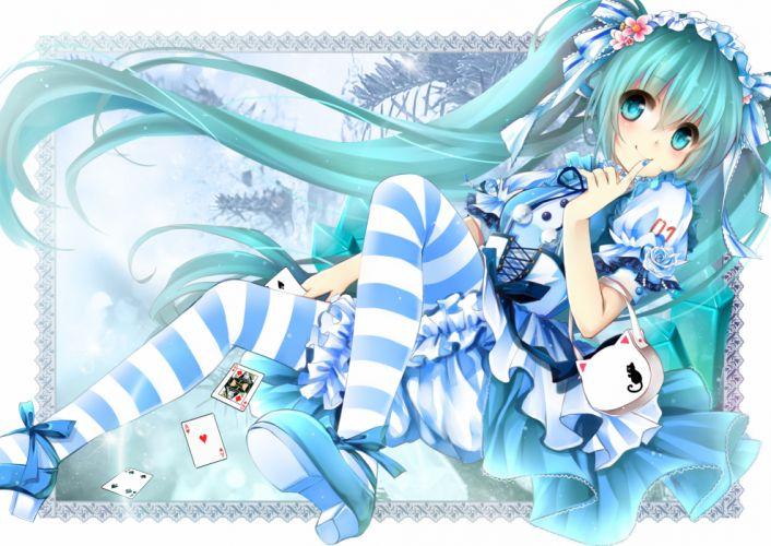 aqua eyes gyaza hatsune miku loli long hair twintails vocaloid wallpaper