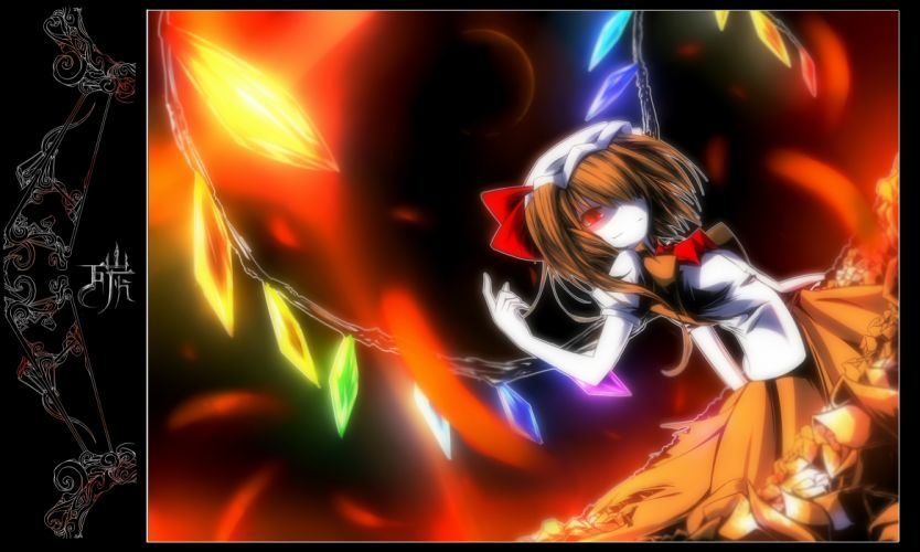 bow flandre scarlet hat red eyes skirt tan (carbon) touhou wings wallpaper