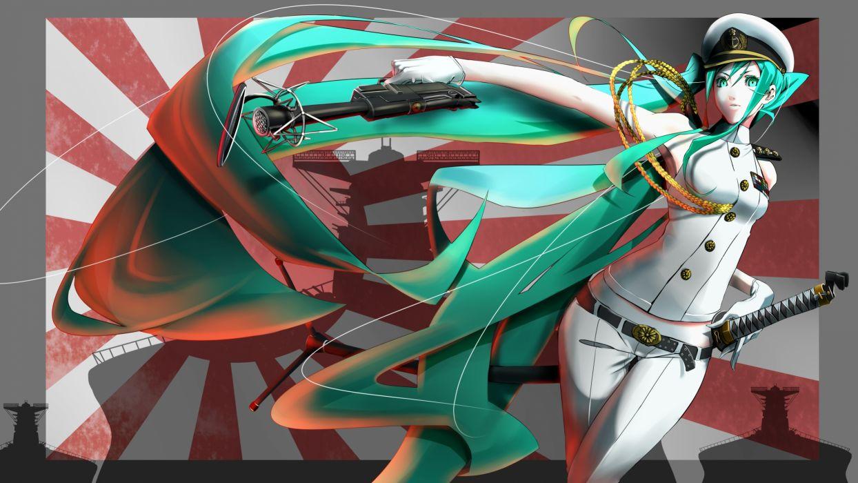crimson (cxrss377) hatsune miku uniform vocaloid weapon wallpaper