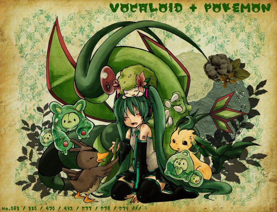 crossover flygon hatsune miku leek pokemon vocaloid wallpaper