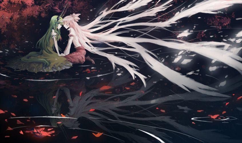 ex keine fujiwara no mokou kamishirasawa keine leaves nyki petals touhou water wallpaper