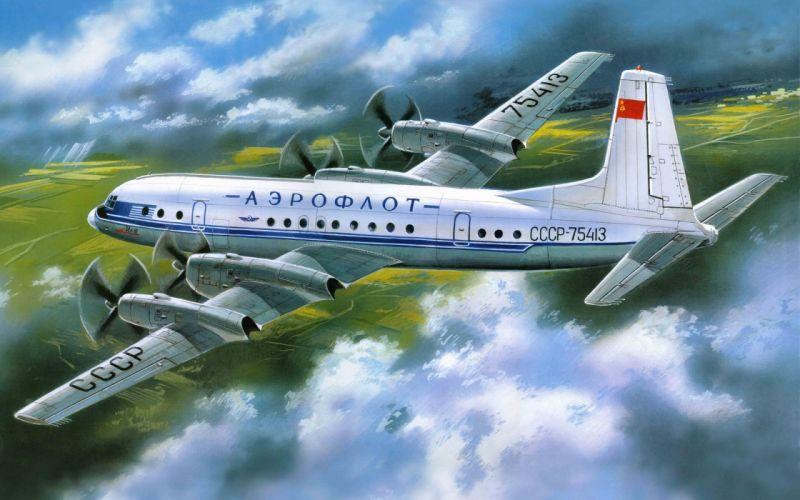 (ll-18) Ilyushin Art passenger aircraft Aeroflot wallpaper