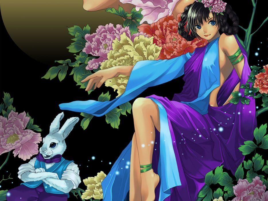 art  girl  rabbit  bunny  flowers  peonies original wallpaper