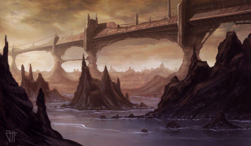 Art juannovelletto bridge rock river water fantasy wallpaper