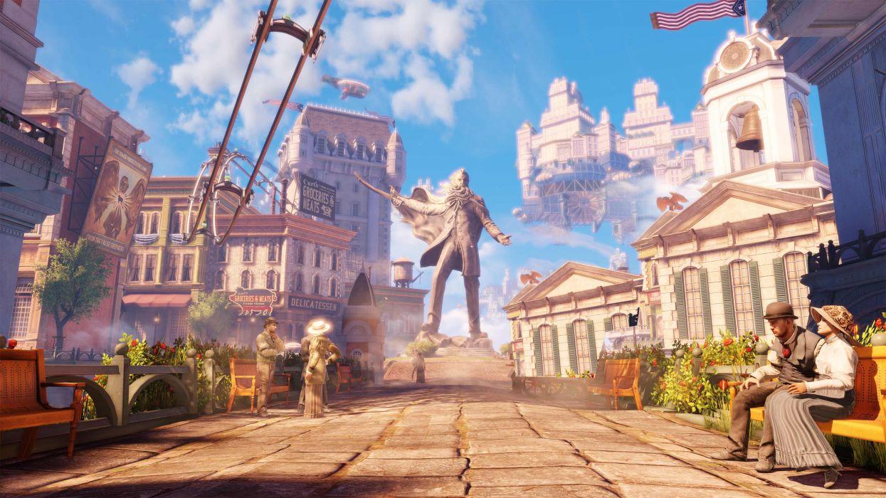 Bioshock Infinite Statue Steampunk Cities Wallpaper