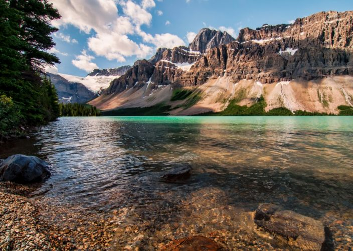 Lake Canada Parks Mountains Scenery Bow Jasper Crag Nature wallpaper