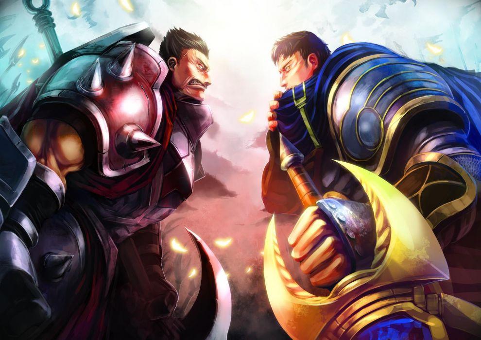 League of Legends Garen Darius fantasy warriors weapons swords wallpaper