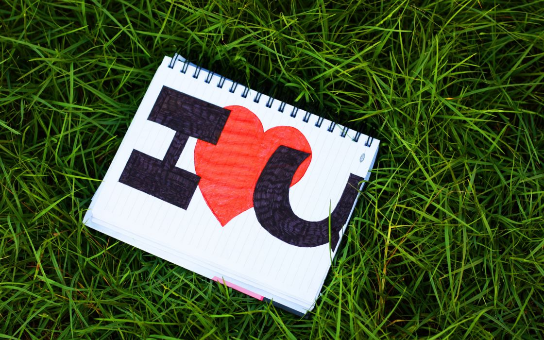 lettering love notebook heart text valentine's day grass wallpaper