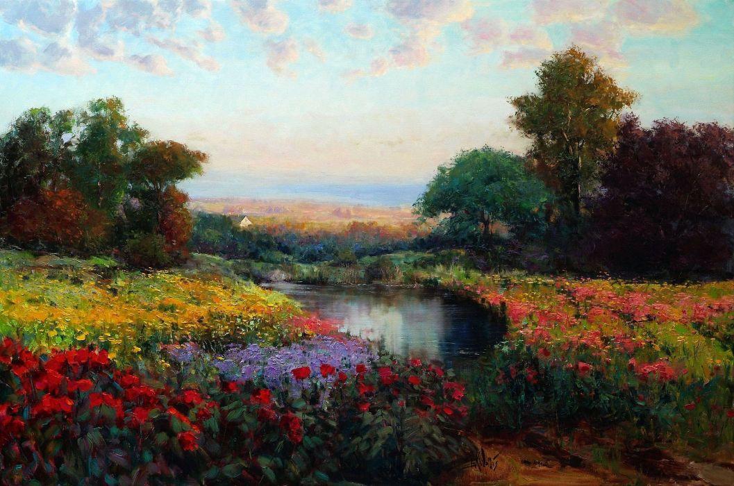 picture landscape oil art Eric Wallis meadow lake flowers trees sky wallpaper