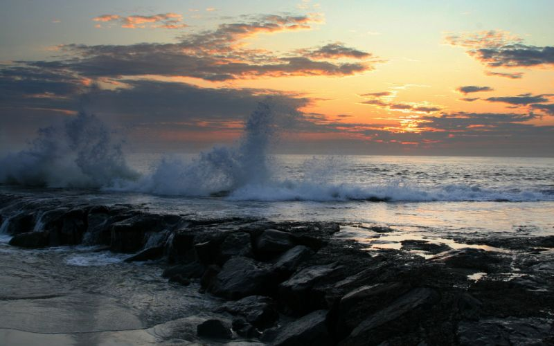 sea spray rocky coast landscape sunset wallpaper
