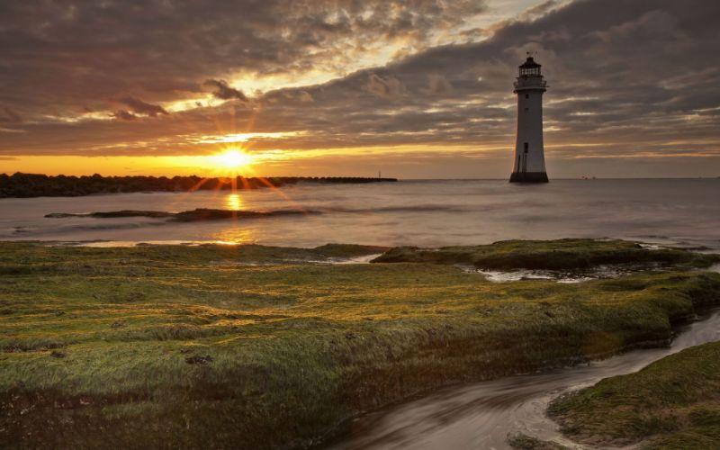 sea sunset lighthouse landscape wallpaper