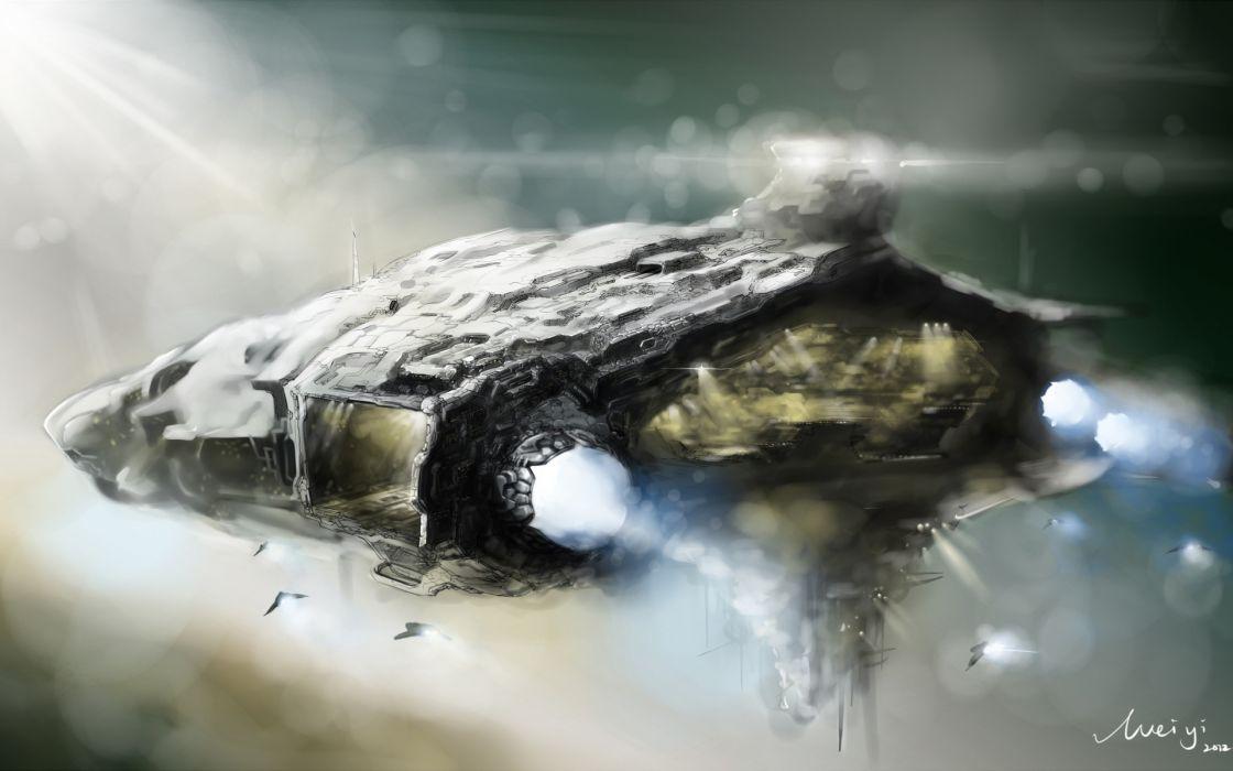 ship fighter aircraft spaceship sci-fi wallpaper
