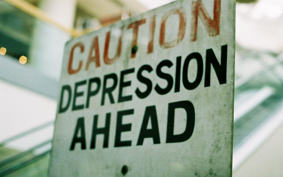 Sign Caution Depression text humor wallpaper
