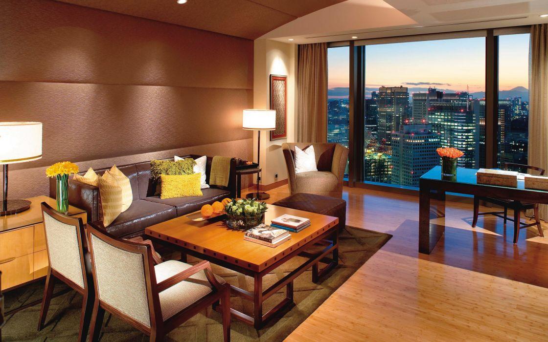 sofa design style interior room cities window wallpaper