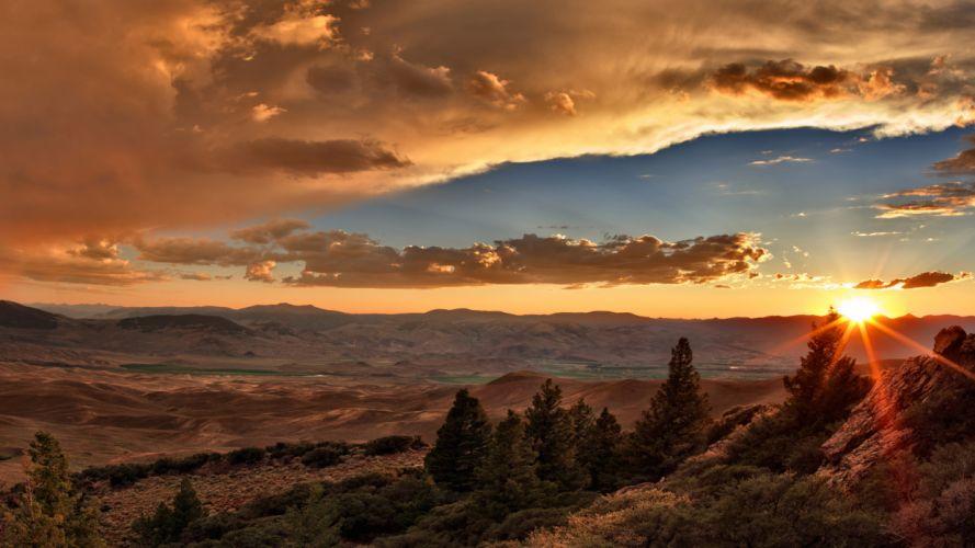 Sunlight Sunset Clouds Landscape wallpaper