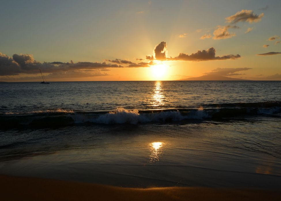 Sunrises and sunsets Sea Sky Maui Hawaii Horizon Nature wallpaper